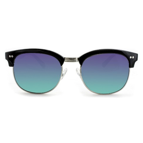 Women's Clubmaster Sunglasses with Green Mirrored Lenses - Black - image 1 of 3