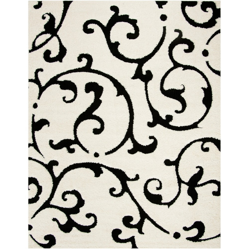 8'6X12' Swirl Loomed Area Rug Ivory/Black - Safavieh, White