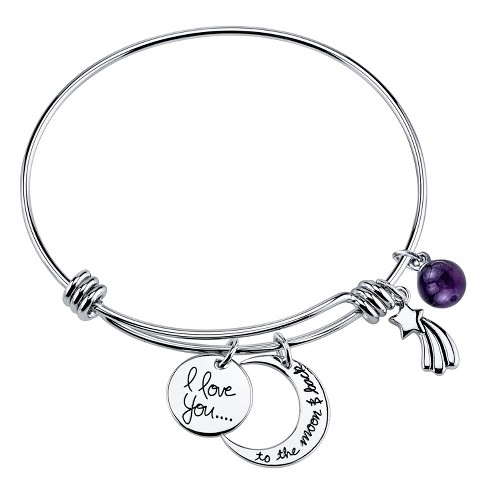 "Women's Stainless Steel I love you to the moon Expandable Bracelet - Silver (8"") - image 1 of 1"