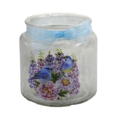 "Stony Creek 3.75"" Bluebird Pink Roses Pre-Lit Jar Blue Ribbon  -  Novelty Sculpture Lights"