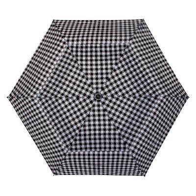 Cirra by ShedRain Gingham Air Vent Auto Open Close Compact Umbrella - Black