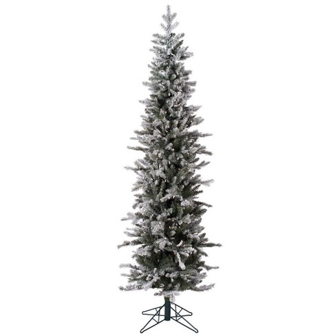 6ft Pre-Lit Artificial Christmas Tree Slim Frosted Glitter Tannenbaum Pine  - with 250 Warm White LED Lights - 6ft Pre-Lit Artificial Christmas Tree Slim Frosted Glitter