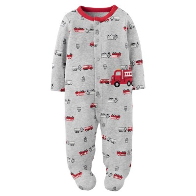Just One You™ Made by Carter's® Baby Boys' Cotton Sleep N' Play Firetrucks Grey/Red NB