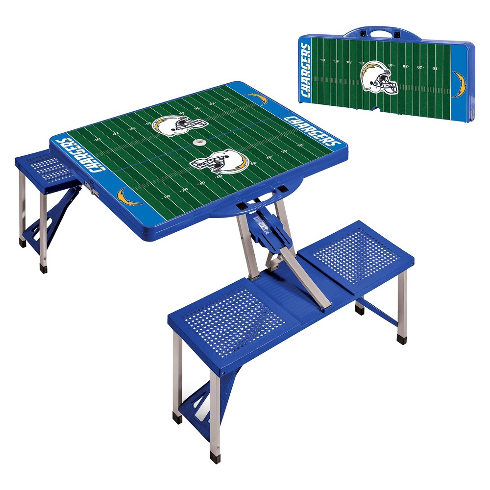 Nfl Los Angeles Chargers Picnic Time Portable Picnic Table With Sports Field Design Blue