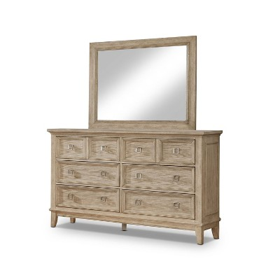 Collier 2pc Transitional Dresser and Mirror Set Natural Tone - HOMES: Inside + Out