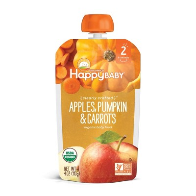 HappyBaby Clearly Crafted Apples Pumpkin & Carrots Baby Food - 4oz