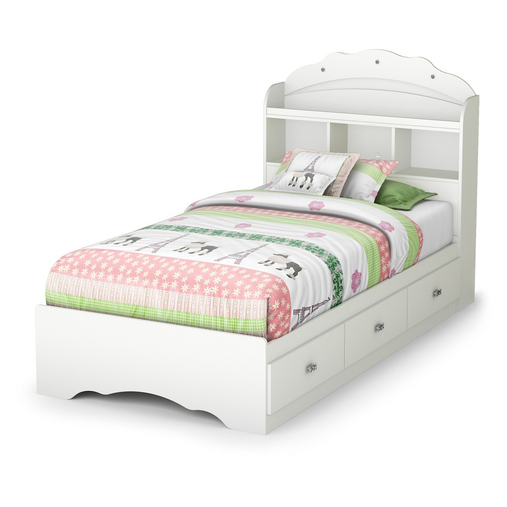 Tiara Twin Mates Bed with Drawers and Bookcase Headboard Set - 39''- Pure White - South Shore