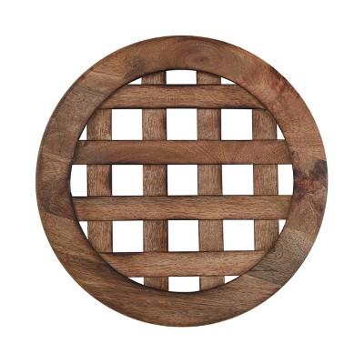 Split P Lattice Wood Decorative Charger - Brown