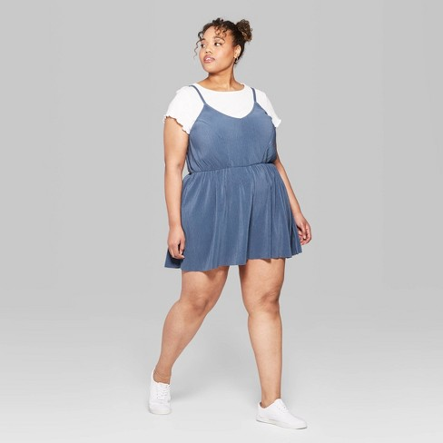 fad5e6498cb Women s Plus Size Strappy V-Neck Ribbed Knit Romper - Wild Fable™ Muted Blue    Target