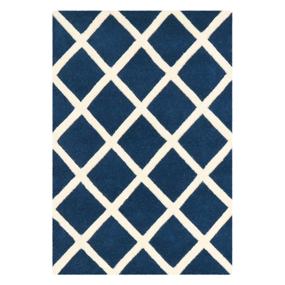 2'X3' Geometric Tufted Accent Rug Dark Blue/Ivory - Safavieh