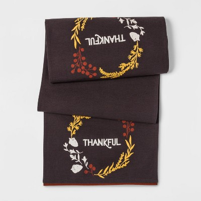 74 x14  Thankful Table Runner Brown - Threshold™