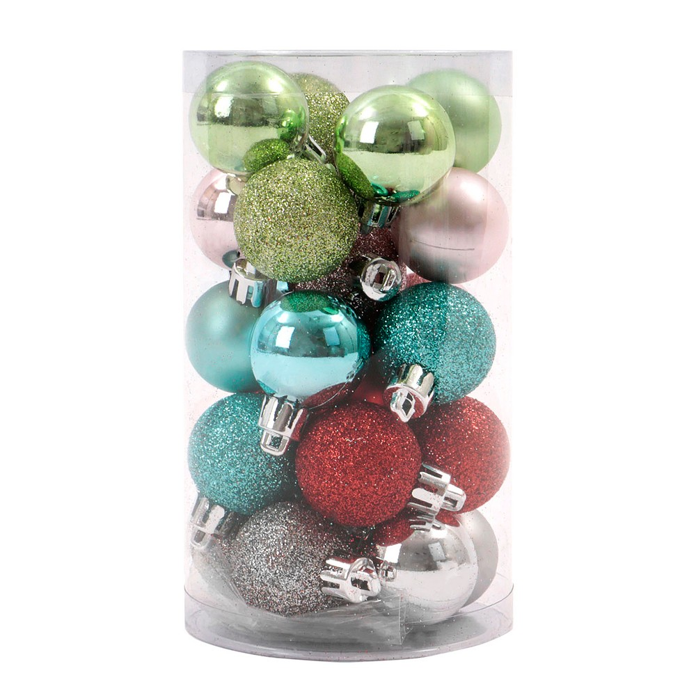 25ct Merry Lane Mini Christmas Ornament Set Green Teal Red and Silver - Wondershop, Multi-Colored