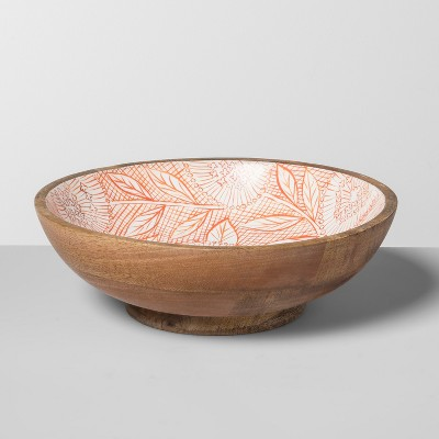 Mango Wood Painted Serving Bowl Lazarus Floral 33oz Orange - Opalhouse™