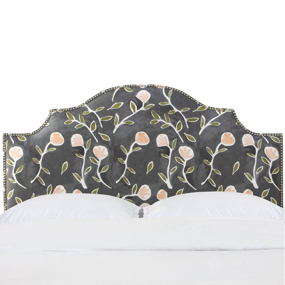 Queen Nail Button Notched Headboard in Caroline Floral Gray/Peach - Cloth & Co.