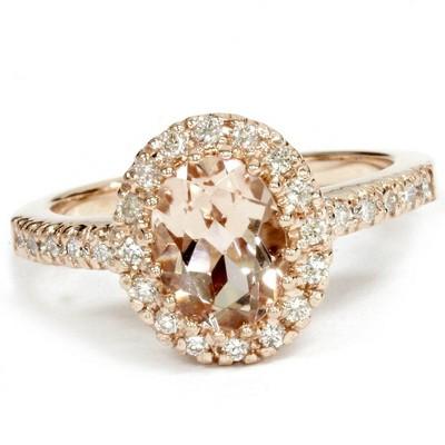 Pompeii3 1 1/2 CT Oval Morganite & Diamond Halo Ring 14K Rose Gold
