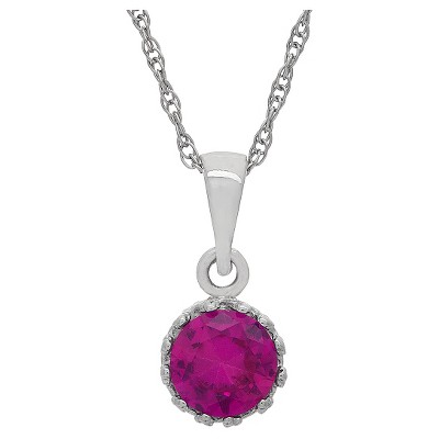 Tiara Sterling Silver Round-cut Birthstone Crown Pendant