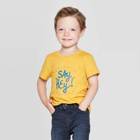 Toddler Boys' Say Hey Graphic Short Sleeve T-Shirt - Cat & Jack™ Yellow - image 1 of 3