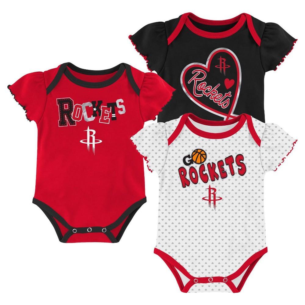 Nba Houston Rockets Girls 39 Draft Pick Body Suit Set 3pk 12m