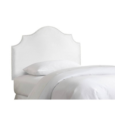 Full Kids' Nail Button Notched Headboard with Silver Nail Buttons Premier White - Skyline Furniture