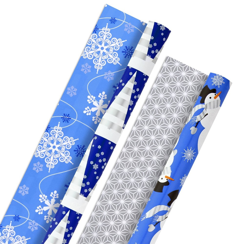 Image of 2ct/60 sq ft Hallmark Holiday Reversible Gift Wrap Blue and Silver