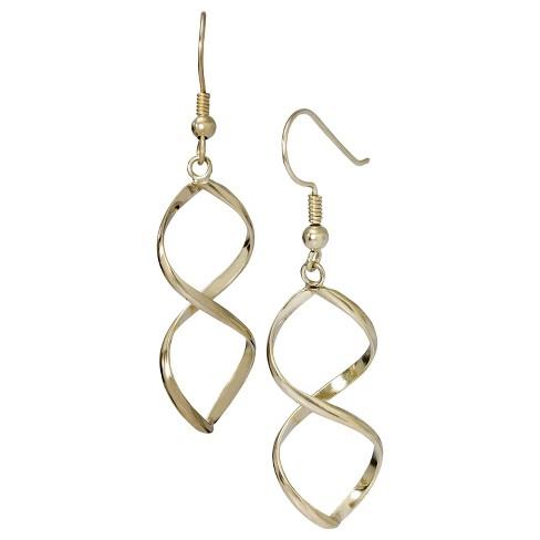 14K Gold Plated Twist Dangle Earring