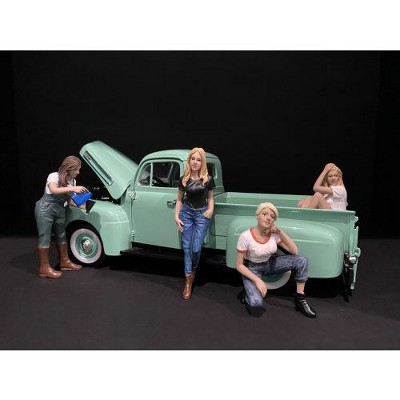 Car Girls in Tees Figurines 4 piece Set for 1/18 Scale Models by American Diorama