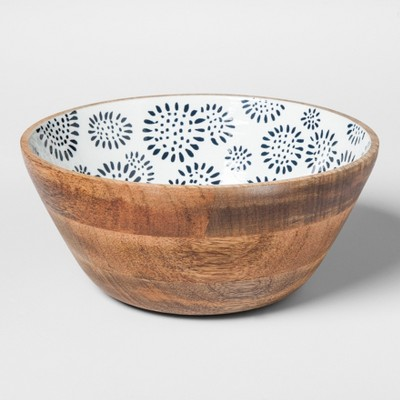 Round Mango Wood Serving Bowl 33oz Wooden/White - Threshold™