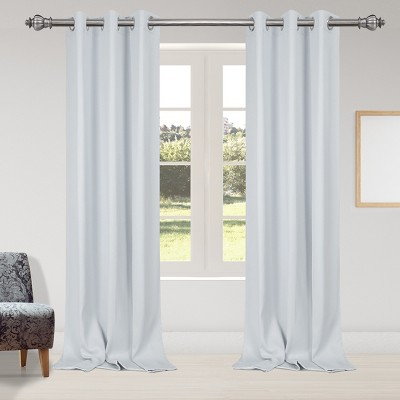 2 Pcs 42 x 95 Inch Solid Blockout Thermal Insulated Grommet Curtain Panels White - PiccoCasa