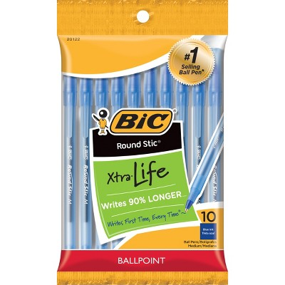 BIC Xtra Life Ballpoint Pens, Medium Tip, 10ct - Blue