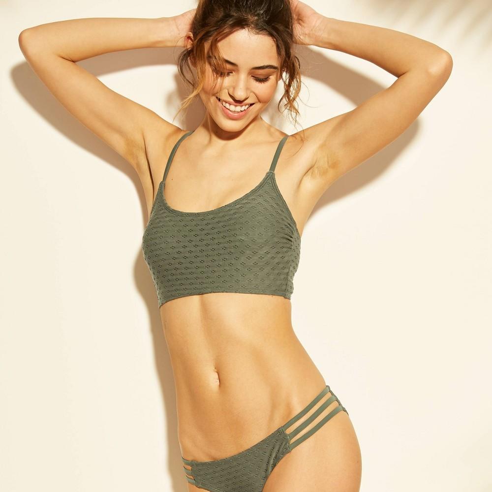 Women's Eyelet Cami Bralette Bikini Top - Xhilaration Olive D/DD Cup, Green
