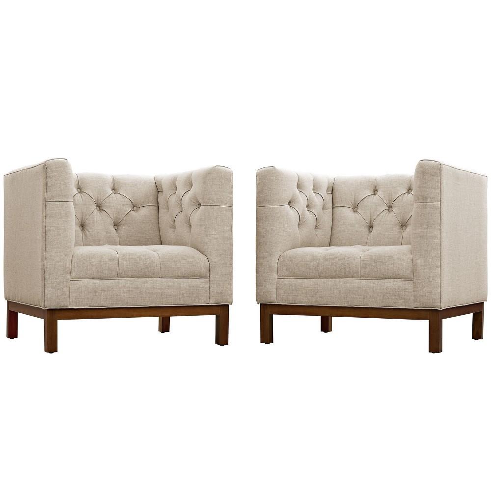 Panache Living Room Set Upholstered Fabric Set of 2 Beige - Modway