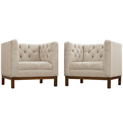 Panache Living Room Set Upholstered Fabric Set of 2 Beige - Modway - image 1 of 5