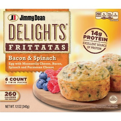 Jimmy Dean Delights Frozen Bacon & Spinach Frittatas - 6ct/12oz