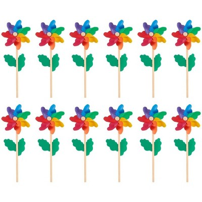 Pinwheels - Pack of 12, Colorful Pinwheels - Value Pack - Suitable for Garden, Party, Outdoor, Yard, Decoration | Multicolored, 4.5 x 11.2 x 2.1""