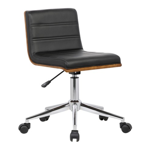 Bowie Mid-Century Office Chair in Chrome finish with Black Faux Leather and Walnut Veneer Back - Armen Living - image 1 of 8