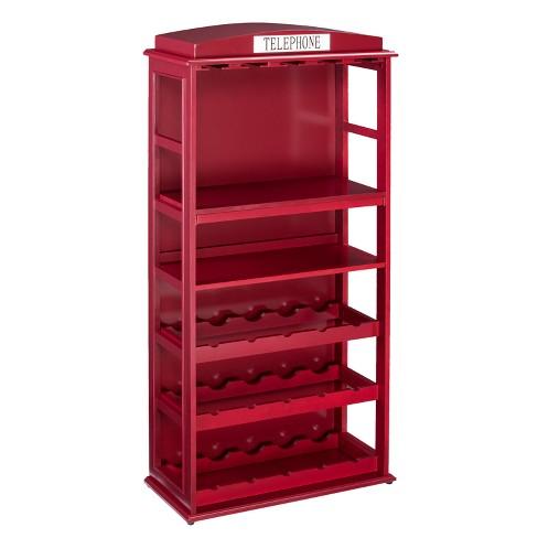 Phone Booth Bar Cabinet Wine Storage Deep Red Aiden Lane