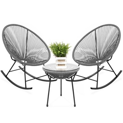 Best Choice Products 3-Piece All-Weather Patio Woven Rope Acapulco Bistro Furniture Set w/ Rocking Chairs, Table
