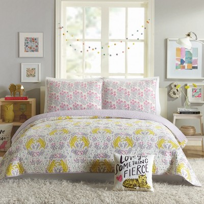 Tiger Flower Quilt Set Purple - Hello Lucky for Makers Collective