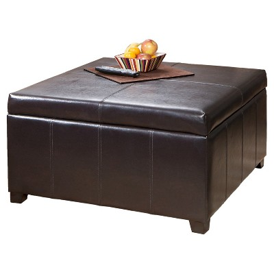 Charmant Forrester Bonded Leather Square Storage Ottoman Espresso   Christopher  Knight Home