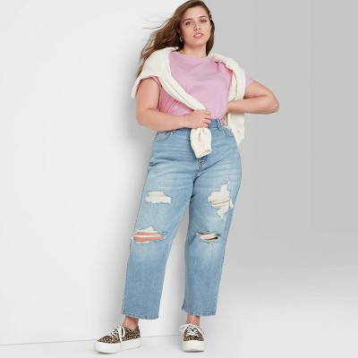 Women's Super-High Rise Distressed Straight Jeans - Wild Fable™ Medium Blue