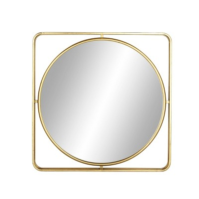 """34"""" x 34 """" Modern Wood and Iron Framed Wall Mirror Gold - Olivia & May"""