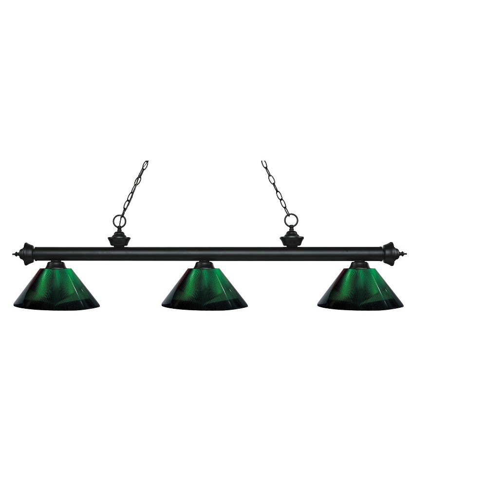 Billiard Ceiling Lights with Green Glass (Set of 3) - Z-Lite