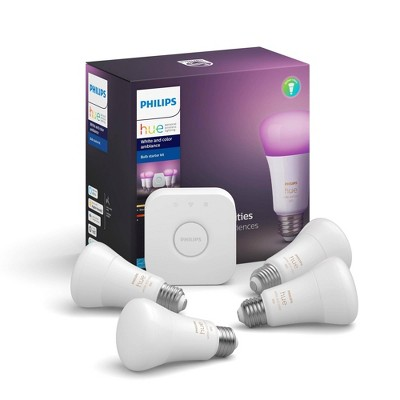 Philips Hue 4pk White and Color Ambiance A19 LED Smart Bulb Starter Kit