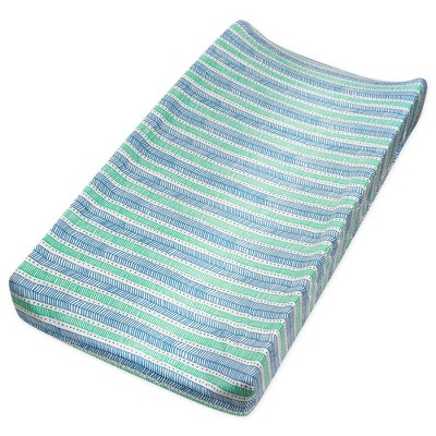 Honest Baby Organic Cotton Changing Pad Cover - Teal Geometric