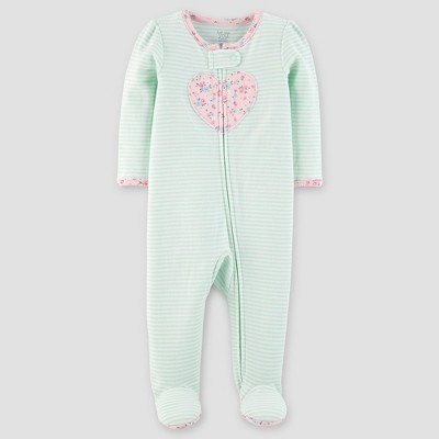 Baby Girls' Cotton Striped Heart Sleep N' Play - Just One You™ Made by Carter's® Green 3M