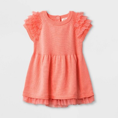 Baby Girls' Short Sleeve Ruffle Dress - Cat & Jack™ Coral 0-3M