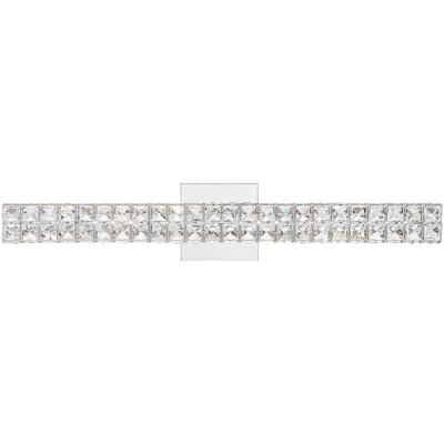 "Vienna Full Spectrum Modern Wall Light LED Chrome Hardwired 26"" Wide Light Bar Fixture Clear Crystal Glass Bathroom Vanity Mirror"