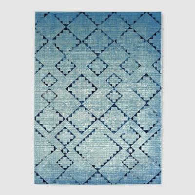 7' x 10' Distressed Diamonds Outdoor Rug Light Blue - Threshold™