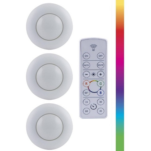 Energizer 3pk Led Puck Light Wireless Color Changing Light With Remote White