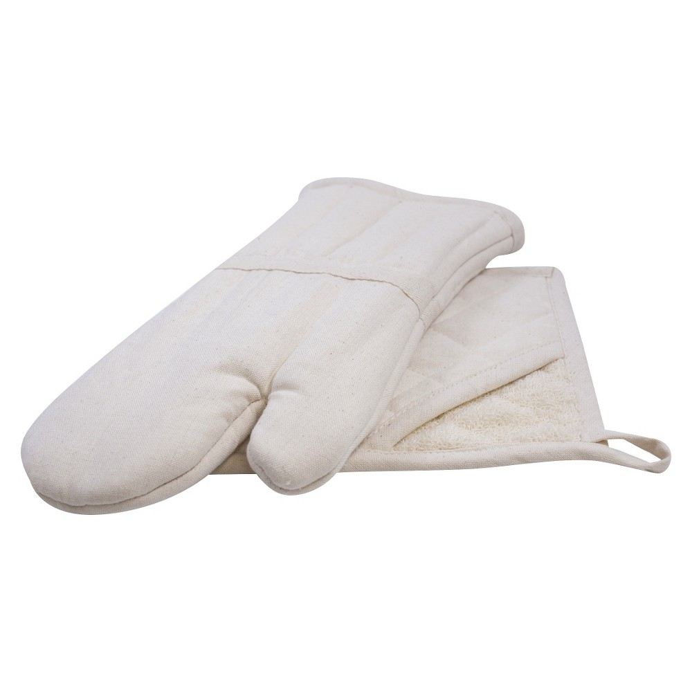 Image of Natural Home 2 Piece Organic Cotton Hot Pad and Oven Mitt Set - Cream